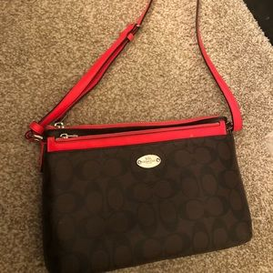 Coach crossbody bag (bright pink/dark brown)